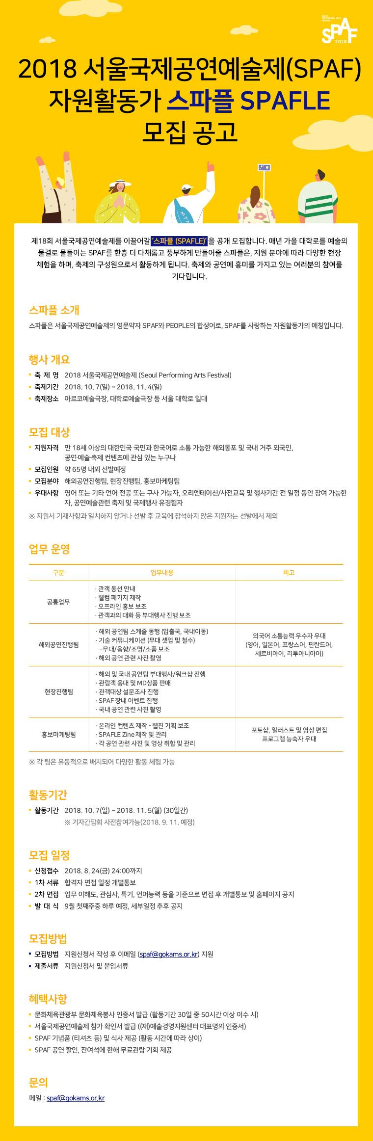 2018 서울국제공연예술제(SPAF) 자원활동가 SPAFLE 모집 공고