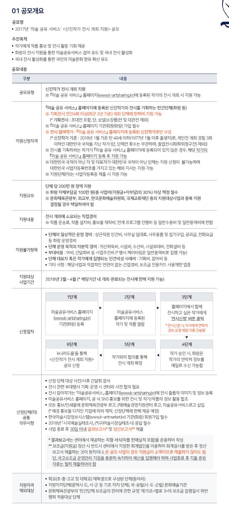 2017 미술공유서비스 <신진작가 전시 개최 지원> 공모 안내이미지2