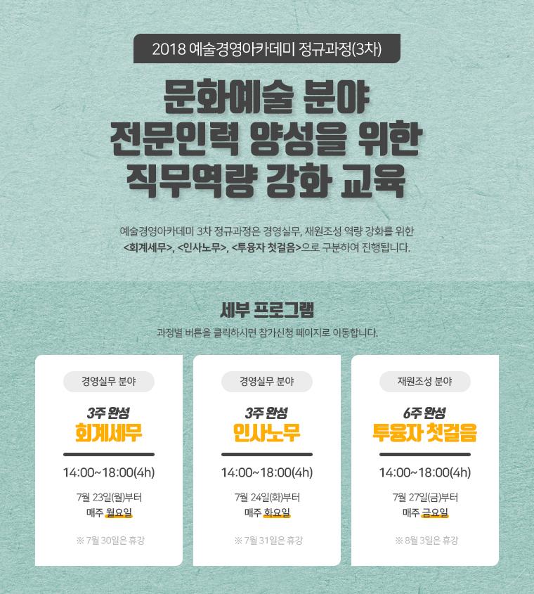 2018 예술경영아카미미 정규과정(3차) 문화예술 분야 전문인력 양성을 위한 직무역량 강화 교육