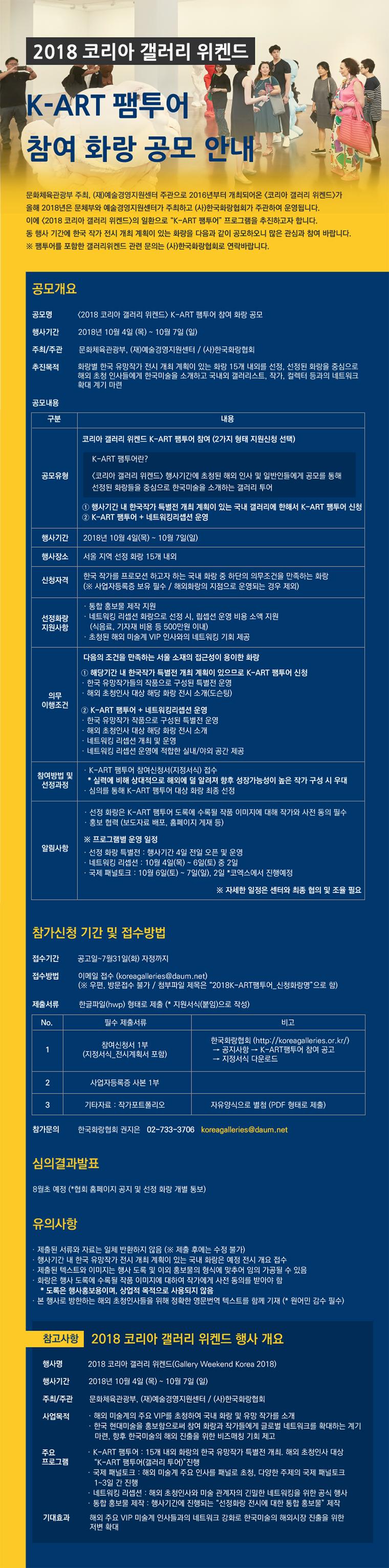 2018 코리아 갤러리 위켄드 K-ART 팸투어 참여 화랑 공모 안내