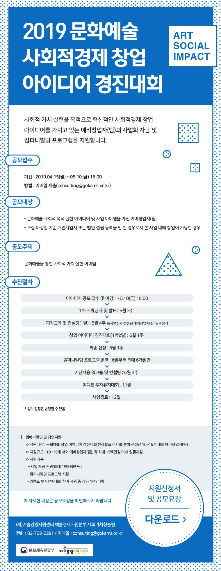 2019 문화예술 사회적경제 창업 아이디어 경진대회