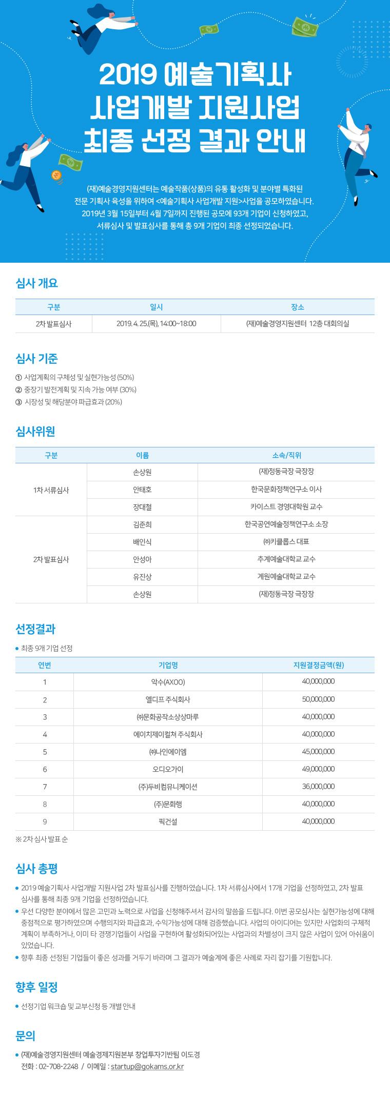 2019예술기획사 사업개발비 지원사업 최종 선정 결과 안내